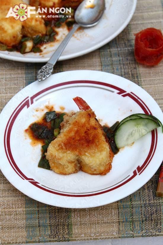 Cách làm món đậu hũ nhồi tôm thịt sốt chua ngọt đẹp mắt ngon cơm phần 16
