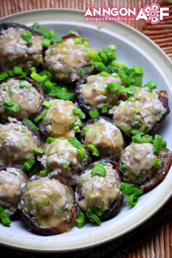 Cách làm món nấm nhồi thịt hấp mới lạ thơm ngọt thật ngon phần 10