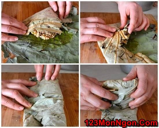 Cách nấu xôi gà hấp lá sen thơm dẻo hấp dẫn thật ngon đãi cả nhà ngày Tết phần 7