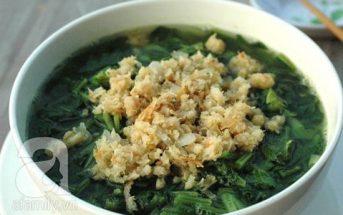 Cách làm canh cải nấu tôm ngọt thơm hấp dẫn ngon cơm