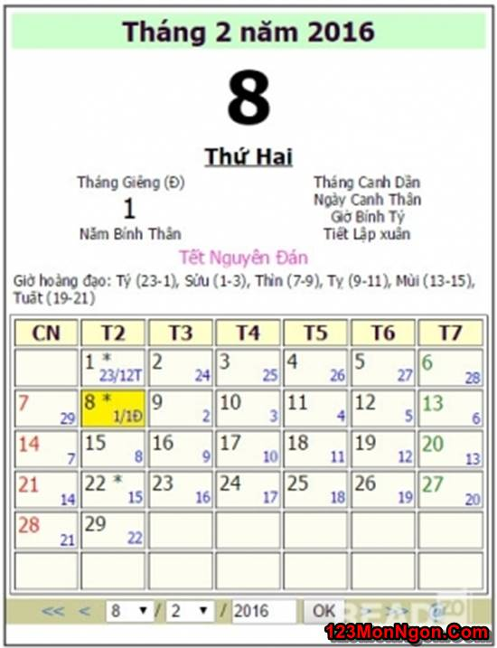 Lịch nghỉ Tết Nguyên Đán Âm Lịch Bính Thân 2016 phần 2