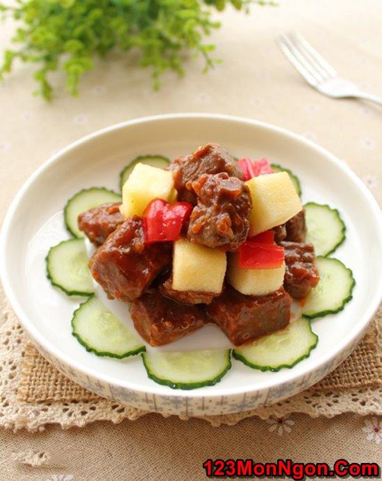Cách làm thịt bò xào táo mới lạ thơm ngon đổi vị cuối tuần phần 1