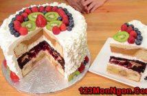 Cách làm bánh kem sinh nhật 3 tầng đơn giản mà ngon mát với hoa quả